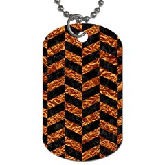 Chevron1 Black Marble & Copper Foil Dog Tag (one Side) by trendistuff