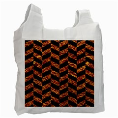Chevron1 Black Marble & Copper Foil Recycle Bag (two Side)  by trendistuff