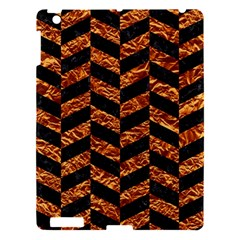 Chevron1 Black Marble & Copper Foil Apple Ipad 3/4 Hardshell Case by trendistuff