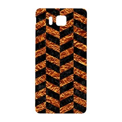 Chevron1 Black Marble & Copper Foil Samsung Galaxy Alpha Hardshell Back Case by trendistuff