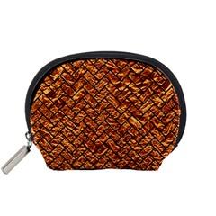 Brick2 Black Marble & Copper Foil (r) Accessory Pouches (small)  by trendistuff