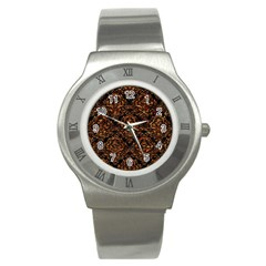 Damask1 Black Marble & Copper Foil Stainless Steel Watch by trendistuff