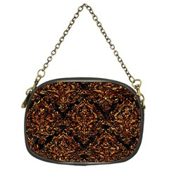 Damask1 Black Marble & Copper Foil Chain Purses (one Side)  by trendistuff