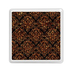 Damask1 Black Marble & Copper Foil Memory Card Reader (square)  by trendistuff