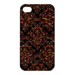 Damask1 Black Marble & Copper Foil Apple Iphone 4/4s Hardshell Case by trendistuff