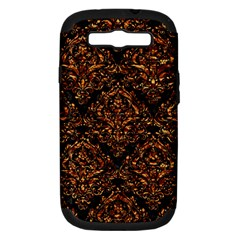 Damask1 Black Marble & Copper Foil Samsung Galaxy S Iii Hardshell Case (pc+silicone) by trendistuff