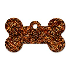 Damask1 Black Marble & Copper Foil (r) Dog Tag Bone (two Sides)