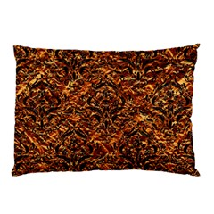 Damask1 Black Marble & Copper Foil (r) Pillow Case by trendistuff