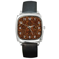 Damask2 Black Marble & Copper Foil (r)2 Black Marble & Copper Foil (r) Square Metal Watch by trendistuff