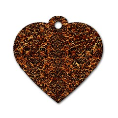 Damask2 Black Marble & Copper Foil (r)2 Black Marble & Copper Foil (r) Dog Tag Heart (one Side) by trendistuff