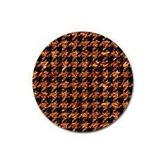 Houndstooth1 Black Marble & Copper Foil Magnet 3  (round) by trendistuff