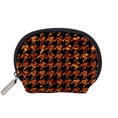 Houndstooth1 Black Marble & Copper Foil Accessory Pouches (small)  by trendistuff