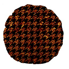 Houndstooth1 Black Marble & Copper Foil Large 18  Premium Flano Round Cushions by trendistuff