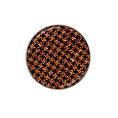Houndstooth2 Black Marble & Copper Foil Hat Clip Ball Marker by trendistuff