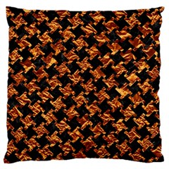 Houndstooth2 Black Marble & Copper Foil Large Cushion Case (one Side) by trendistuff