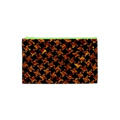 Houndstooth2 Black Marble & Copper Foil Cosmetic Bag (xs) by trendistuff