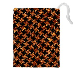 Houndstooth2 Black Marble & Copper Foil Drawstring Pouches (xxl) by trendistuff