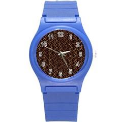Hexagon1 Black Marble & Copper Foil Round Plastic Sport Watch (s) by trendistuff