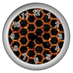 Hexagon2 Black Marble & Copper Foilmarble & Copper Foil Wall Clocks (silver)  by trendistuff
