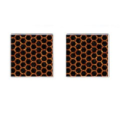 Hexagon2 Black Marble & Copper Foilmarble & Copper Foil Cufflinks (square) by trendistuff