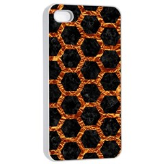Hexagon2 Black Marble & Copper Foilmarble & Copper Foil Apple Iphone 4/4s Seamless Case (white) by trendistuff