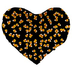 Candy Corn Large 19  Premium Flano Heart Shape Cushions by Valentinaart