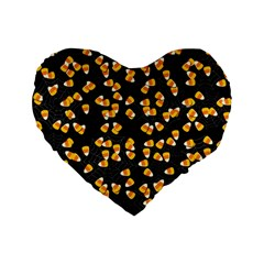 Candy Corn Standard 16  Premium Flano Heart Shape Cushions by Valentinaart