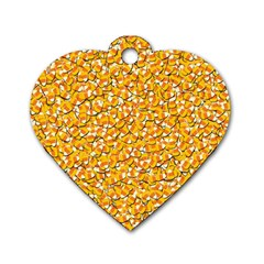Candy Corn Dog Tag Heart (one Side) by Valentinaart