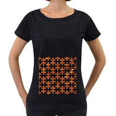 Puzzle1 Black Marble & Copper Foil Women s Loose Fit T Shirt (black) by trendistuff