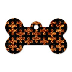 Puzzle1 Black Marble & Copper Foil Dog Tag Bone (one Side) by trendistuff