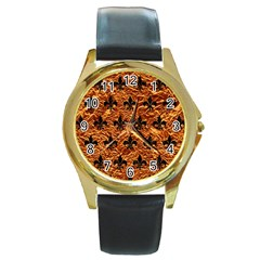 Royal1 Black Marble & Copper Foil Round Gold Metal Watch by trendistuff