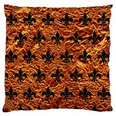 Royal1 Black Marble & Copper Foil Large Flano Cushion Case (two Sides) by trendistuff