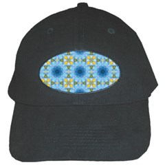Blue Nice Daisy Flower Ang Yellow Squares Black Cap by MaryIllustrations