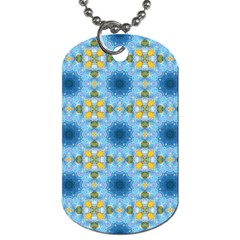 Blue Nice Daisy Flower Ang Yellow Squares Dog Tag (two Sides) by MaryIllustrations