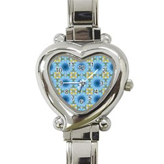 Blue Nice Daisy Flower Ang Yellow Squares Heart Italian Charm Watch by MaryIllustrations