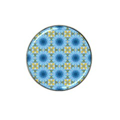 Blue Nice Daisy Flower Ang Yellow Squares Hat Clip Ball Marker by MaryIllustrations