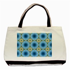 Blue Nice Daisy Flower Ang Yellow Squares Basic Tote Bag by MaryIllustrations