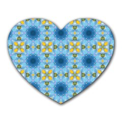 Blue Nice Daisy Flower Ang Yellow Squares Heart Mousepads by MaryIllustrations