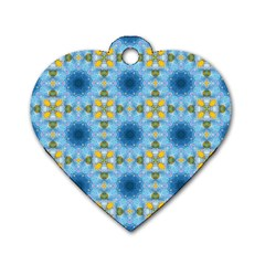 Blue Nice Daisy Flower Ang Yellow Squares Dog Tag Heart (one Side)