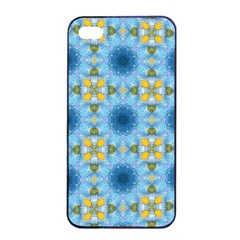 Blue Nice Daisy Flower Ang Yellow Squares Apple Iphone 4/4s Seamless Case (black) by MaryIllustrations