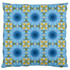 Blue Nice Daisy Flower Ang Yellow Squares Large Cushion Case (two Sides) by MaryIllustrations