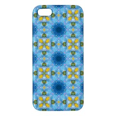 Blue Nice Daisy Flower Ang Yellow Squares Apple Iphone 5 Premium Hardshell Case by MaryIllustrations