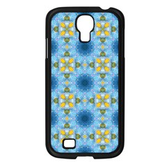 Blue Nice Daisy Flower Ang Yellow Squares Samsung Galaxy S4 I9500/ I9505 Case (black) by MaryIllustrations