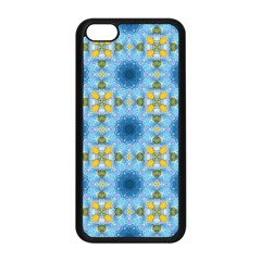 Blue Nice Daisy Flower Ang Yellow Squares Apple Iphone 5c Seamless Case (black) by MaryIllustrations
