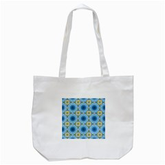 Blue Nice Daisy Flower Ang Yellow Squares Tote Bag (white) by MaryIllustrations