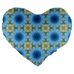 Blue Nice Daisy Flower Ang Yellow Squares Large 19  Premium Flano Heart Shape Cushions by MaryIllustrations
