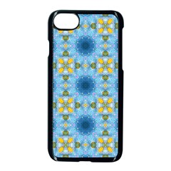 Blue Nice Daisy Flower Ang Yellow Squares Apple Iphone 7 Seamless Case (black) by MaryIllustrations