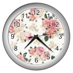 Pink And White Flowers  Wall Clocks (silver)  by MaryIllustrations
