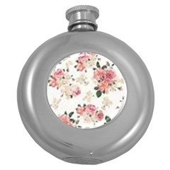 Pink And White Flowers  Round Hip Flask (5 Oz) by MaryIllustrations