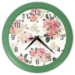 Pink And White Flowers  Color Wall Clocks by MaryIllustrations